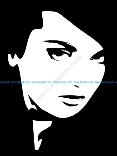 Woman face black and white vector