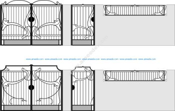 Wrought Iron Gate Vector Art