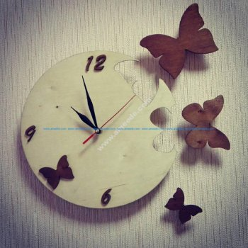 Butterfly Clock Laser Cut