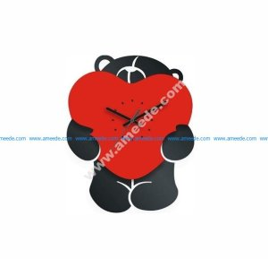Bear with Heart Clock Laser Cut