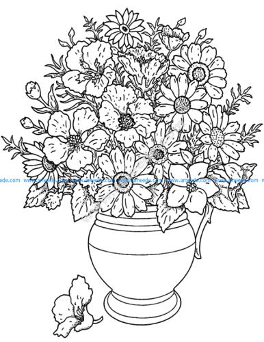 Fleurs et vegetation vase
