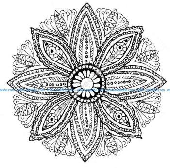 Mandala a colorier feuilles