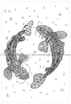 Mandala a imprimer zentangle carpe koi