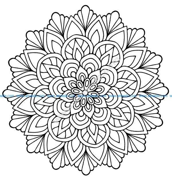 Mandala facile fleur avec feuilles