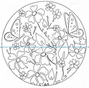 Mandala gratuit fleurs papillons