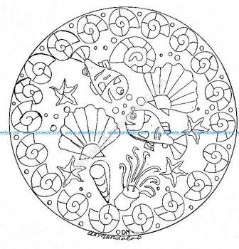 Mandala gratuit fonds marins 2