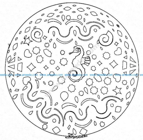 Mandala gratuit hippocampe