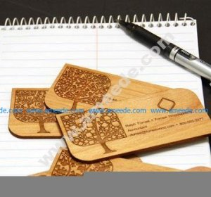 Wood Business Cards Engraved with a Laser