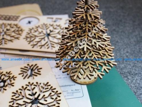 Laser-cut flat-pack Christmas tree