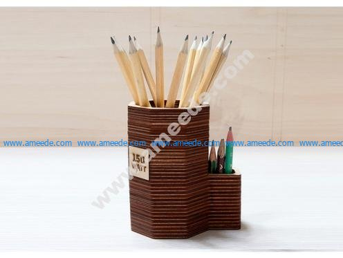 Laser cut plywood pencil stand