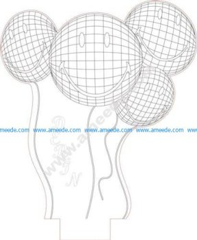 Funny baloons 3d illusion lamp