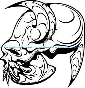 Skull demon or evil horror - vector illustration