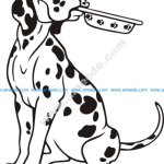 Cartoon Dalmatian Dog Sitting