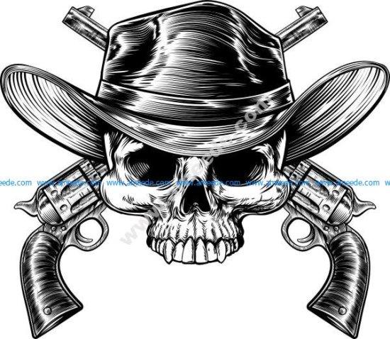 Skull cowboy in western hat