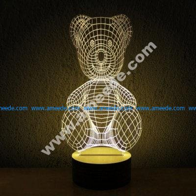 Teddy bear 3d illusion lamp