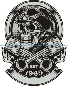 Vintage Biker Skull With Crossed Piston Emblem Royalty