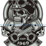 Vintage Biker Skull With Crossed Piston Emblem Royalty