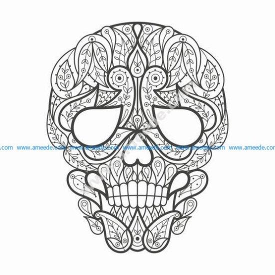 Doodle stylized colorful skull