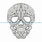Doodle stylized colorful skull