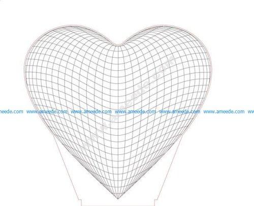 Heart 3D Illusion Lamp LED Night Lights