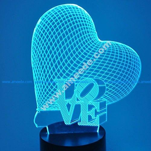 Heart Love Sculpture 3D Illusion Lamp