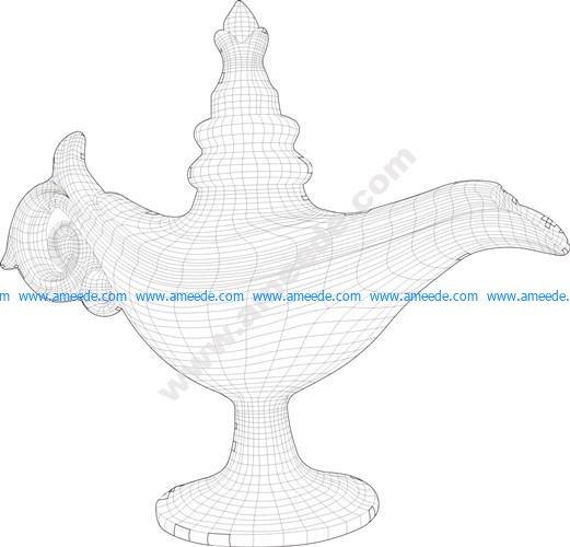 Magic lamp 3D illusion vector file