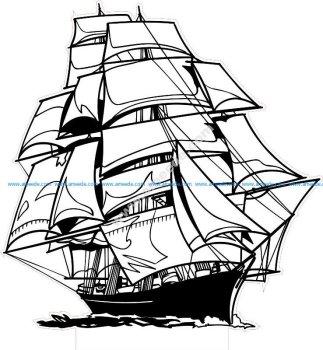 Sailing Ship LED 3D Lamp Vector