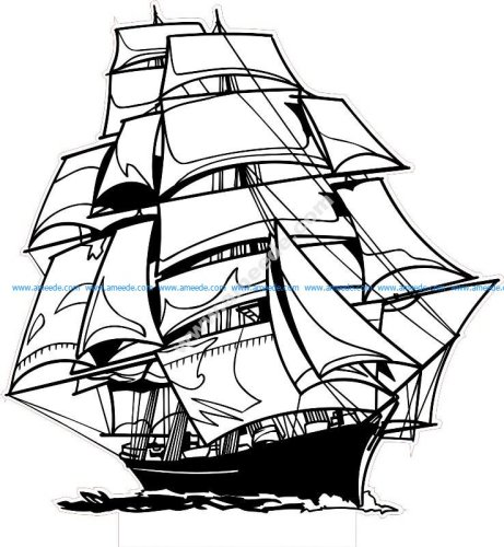 Sailing Ship LED 3D Lamp Vector
