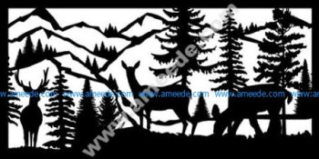 Buck Two Does Mountains River Plasma Metal Art DXF