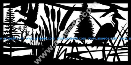 Ducks Cattails Herron Plasma Metal Art DXF