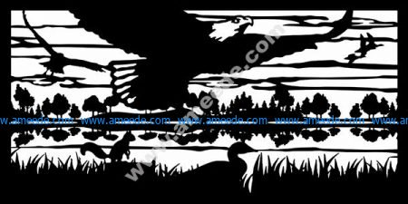 Eagle Squirrel Ducks River Plasma Metal Art DXF