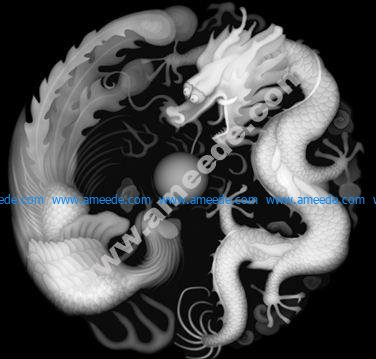 High-definition dragon and phoenix grayscale BMP