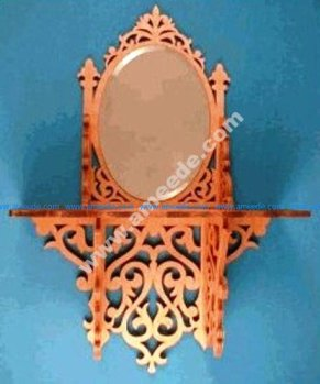 Mirror rack on oval wall