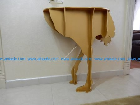 Ostrich Console Table Laser Cut CNC Template Free Vector