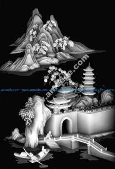 Traditional Chinese Grayscale Embossed Artwork BMP