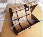 wooden travel suitcase