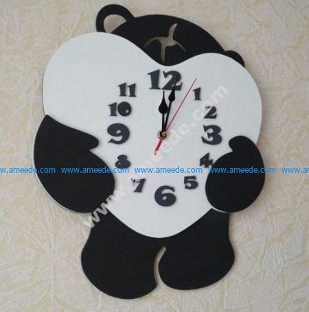 Bear shaped clock embracing heart