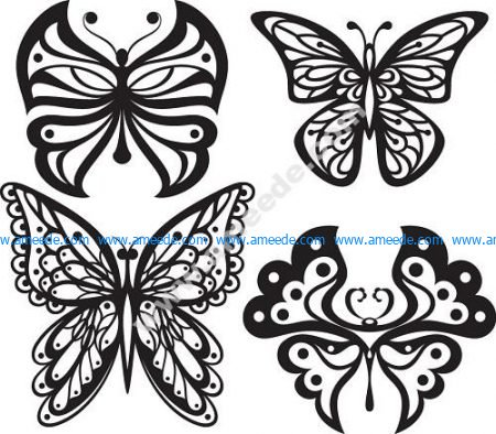 Beautiful Butterflies Monochrome Style for Tattoo