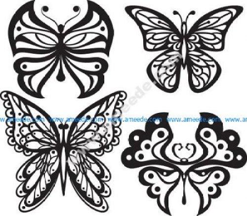 Beautiful Butterflies Monochrome Style for Tattoo