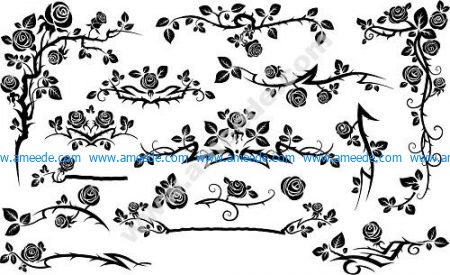 Black Seamless Rose Floral Pattern