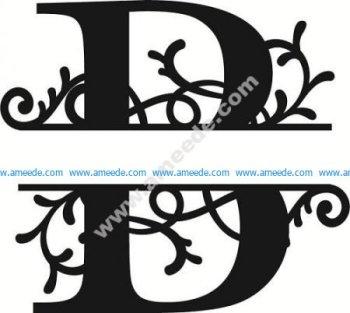 Flourished Split Monogram B Letter