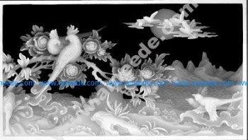 Landscape painting of paradise birds