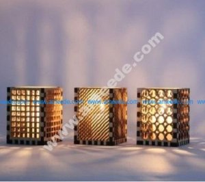 Wooden lamp made of assembled wood