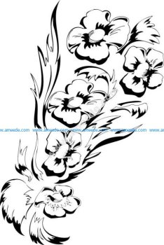 Black White Flower Floral Design