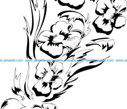 Black White Flower Floral Design