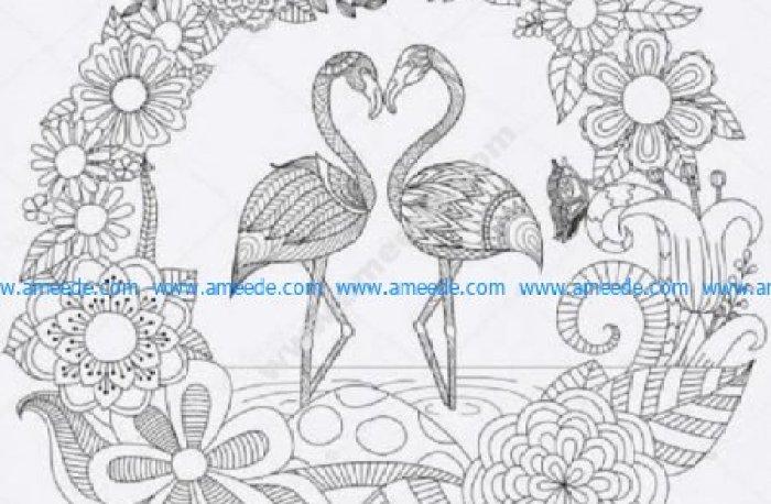 Flamingo love heart zen