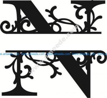 Flourished Split Monogram N Letter