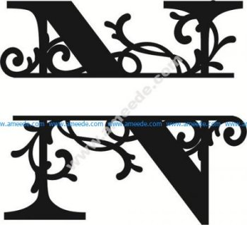 Flourished Split Monogram N Letter