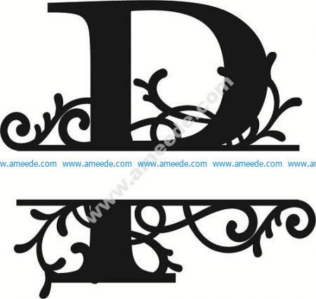 Flourished Split Monogram P Letter