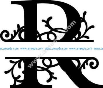 Flourished Split Monogram R Letter